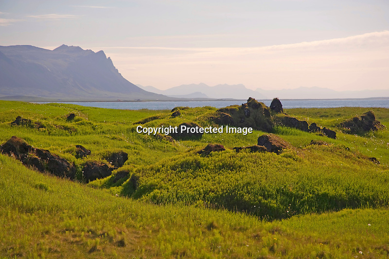View of Lava Field and Helgrindur Mountain Range along the Budir Coast in West Iceland