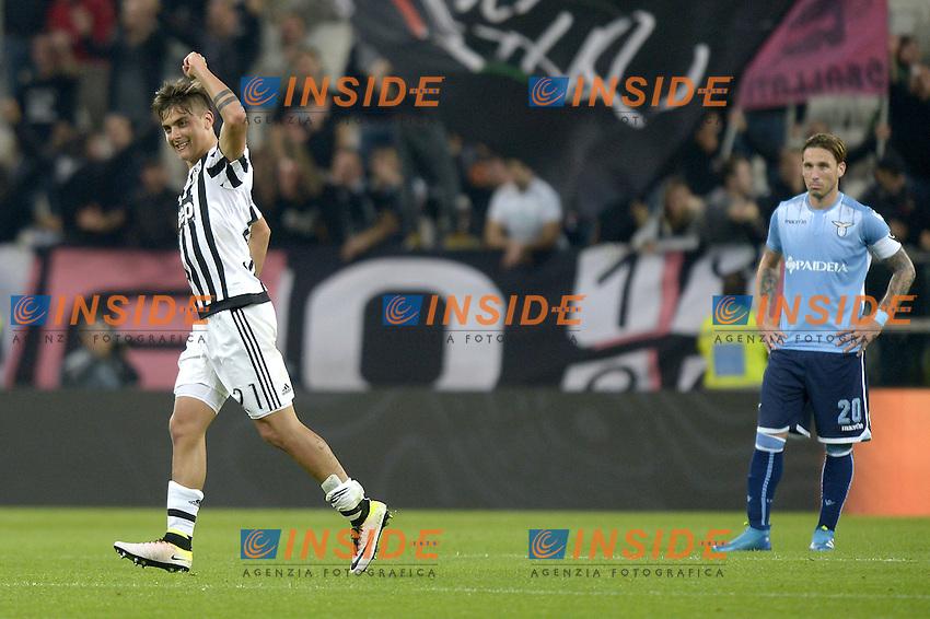 Esultanza Paulo Dybala Juventus dopo gol 3-0, goal celebration,<br /> Torino 20-04-2016, Juventus Stadium, Football Calcio 2015/2016 Serie A, Juventus - Lazio, Foto Filippo Alfero/Insidefoto