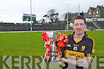 Crokes Captain Kieran O'Leary with O'Donoghue Cup final at the scoreboard end of Fitzgerald Stadium on Sunday