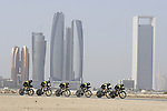 Mitchelton-Scott motor along during Stage 1 of the 2019 UAE Tour, a team time trial running 16km around Al Hudayriat Island, Abu Dhabi, United Arab Emirates. 24th February 2019.<br /> Picture: LaPresse/Fabio Ferrari | Cyclefile<br /> <br /> <br /> All photos usage must carry mandatory copyright credit (© Cyclefile | LaPresse/Fabio Ferrari)