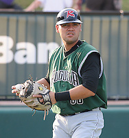 Catcher Eliezer Zambrano (38) of the Augusta GreenJackets, Class A affiliate of the San Francisco Giants, prior to a game against the Greenville Drive on August 27, 2011, at Fluor Field at the West End in Greenville, South Carolina. Greenville defeated Augusta, 10-4. (Tom Priddy/Four Seam Images)