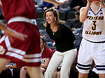 SIOUX FALLS, SD: MARCH 4: Head Coach Kerry Cremeans from Denver hollers at her players during their game against Western Illinois on March 4, 2017 during the Summit League Basketball Championship at the Denny Sanford Premier Center in Sioux Falls, SD. (Photo by Dave Eggen/Inertia)
