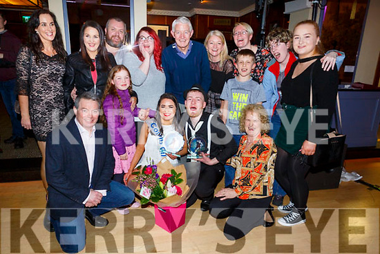 James O'Mahoney and Katelyn Galvin winner of the Judges vote, celebrate with their families at the Ballymac Strictly Love dancing in the Ballygarry House Hotel on Saturday.