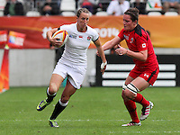 Kat Merchant in action. WRWC England v Canada, World Cup Final at Stade Jean Bouin, Avenue du Général Sarrail, Paris, France, on 17th August 2014
