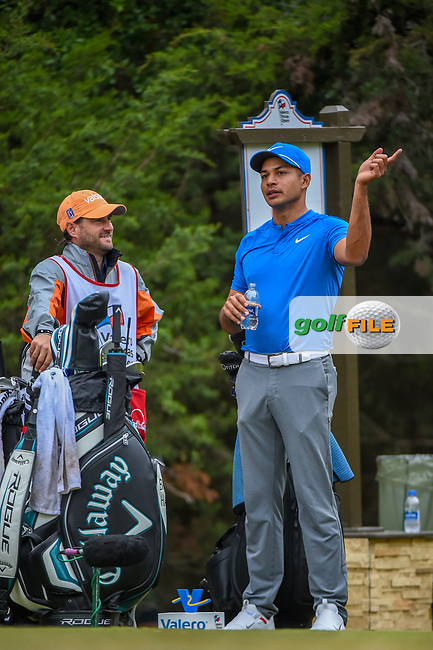 Julian Suri (USA) looks over his tee shot on 14 during Round 3 of the Valero Texas Open, AT&T Oaks Course, TPC San Antonio, San Antonio, Texas, USA. 4/21/2018.<br /> Picture: Golffile   Ken Murray<br /> <br /> <br /> All photo usage must carry mandatory copyright credit (© Golffile   Ken Murray)