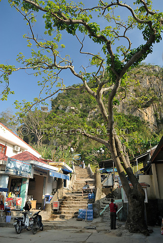 Asia, Vietnam, near Da Nang. Stairs at the entrance to the buddhist sanctuaries at the famous Ngu Hanh Son or Marble Mountains.