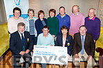 Pictured at Tralee Golf Club on Monday night last at a cheque presentation to the Family Carers Ireland Kerry Branch, from recent fundraiser, where €9,350 was raised, front l-r: John Reen (Men's Captain) Karen Gearon (Family Carers Ireland Kerry Branch), Margaret Murphy (Lady's Captain) and Billy Naughton. Back l-r: Mary Sheehy, Ber Walsh, Mary O'Rourke, Noreen Coffey, Philip O'Sullivan, Joe McCarthy and JJ Young.