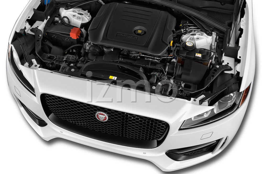 Car Stock 2018 Jaguar F-PACE 20d-R-Sport-AWD 5 Door SUV Engine  high angle detail view