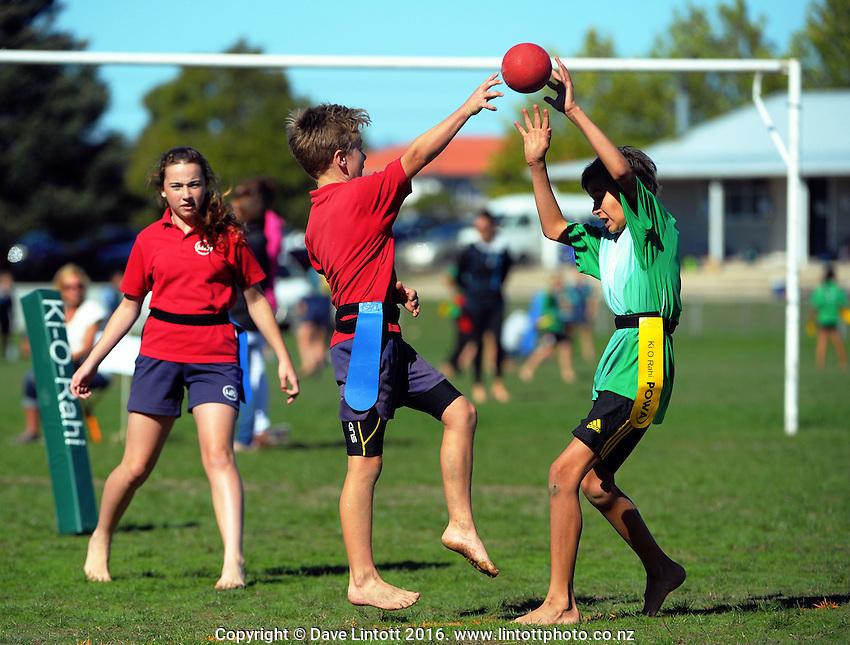 Wairarapa primary schools Ki o Rahi tournament in Masterton, New Zealand on Thursday, 14 April 2016. Photo: Dave Lintott / lintottphoto.co.nz