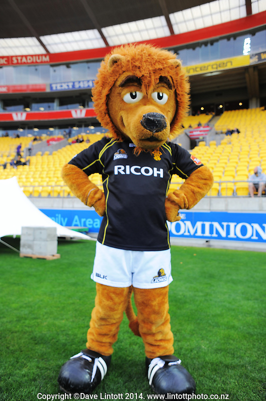 Leo the Lion during the ITM Cup rugby union match between Wellington Lions and Taranaki at Westpac Stadium, Wellington, New Zealand on Sunday, 5 October 2014. Photo: Dave Lintott / lintottphoto.co.nz