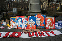 NEW YORK, NY - MARCH 8: Banners staged on the floor during a rally to mark International Women's Day at Union Square on March 08, 2019. (Photo by Maite H. Mateo/VIEWpress)