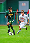 12 September 2010: University of Vermont Catamount forward Juan Peralta, a Senior from Queens, NY, in action against the Cornell University Big Red at Centennial Field in Burlington, Vermont. The Catamounts defeated the Big Red 2-1. Mandatory Credit: Ed Wolfstein Photo