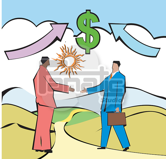 Businessmen shaking hands in front of dollar sign