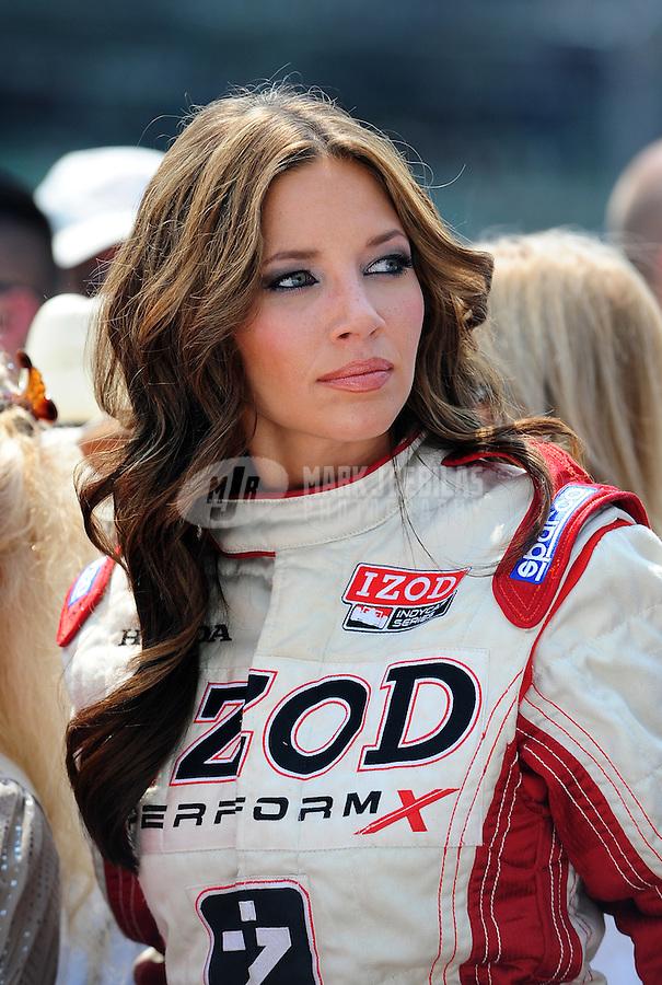 May 30, 2010; Indianapolis, IN, USA; IZOD trophy girl Cameron Haven during the Indianapolis 500 at the Indianapolis Motor Speedway. Mandatory Credit: Mark J. Rebilas-