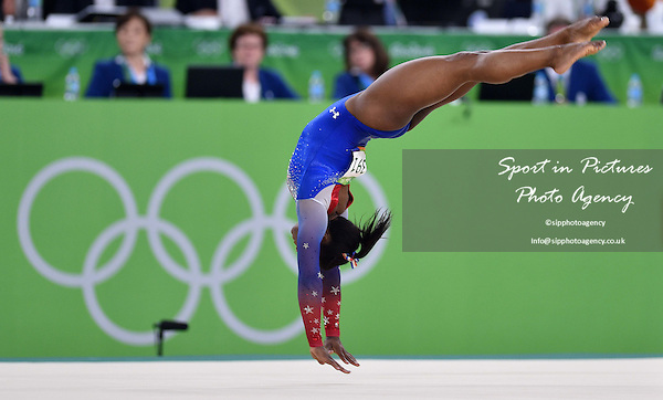 Simone Biles (USA). Womens individual floor exercise. Artistic Gymnastics. Rio Olympic arena. Olympic Park. Rio de Janeiro. Brazil. 16/08/2016. ~ MANDATORY CREDIT Garry Bowden/SIPPA - NO UNAUTHORISED USE - +44 7837 394578