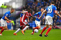 Mikael Ndjoli of Gillinghamtakes on the Portsmouth defence during Portsmouth vs Gillingham, Sky Bet EFL League 1 Football at Fratton Park on 12th October 2019