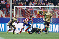 Atletico de Madrid´s Diego Costa (C) and Milan´s Nigel de Jong and Essien (R) during 16th Champions League soccer match at Vicente Calderon stadium in Madrid, Spain. January 06, 2014. (ALTERPHOTOS/Victor Blanco)