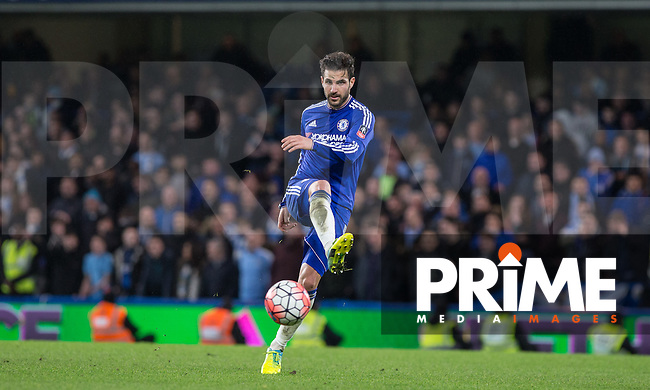 Cesc Fabregas of Chelsea plays a pass during the FA Cup 5th round match between Chelsea and Manchester City at Stamford Bridge, London, England on 21 February 2016. Photo by Andy Rowland.