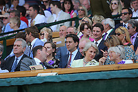 OIC - ENTSIMAGES.COM -  Ed Miliband watches Andy Murray of Great Britain celebrates his win in the Gentlemen's Singles Final match against Novak Djokovic of Serbia of the Wimbledon Lawn Tennis Championships at the All England Lawn Tennis and Croquet Club 7th July 2013     Photo Ents Images/OIC 0203 174 1069