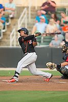Ronarsy Ledesma (2) of the Delmarva Shorebirds follows through on his swing against the Kannapolis Intimidators at CMC-Northeast Stadium on June 6, 2015 in Kannapolis, North Carolina.  The Shorebirds defeated the Intimidators 7-2.  (Brian Westerholt/Four Seam Images)