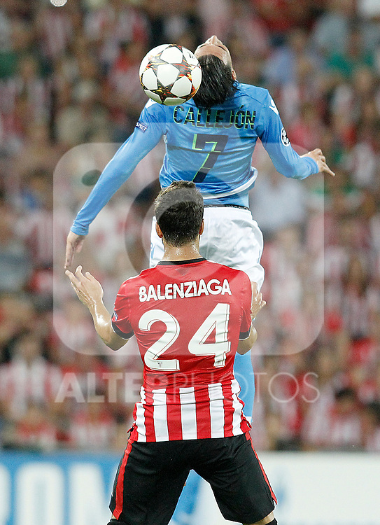 Athletic de Bilbao's Mikel Balenziaga (d) and SSC Napoli's Jose Callejon during Champions League 2014/2015 Play-off 2nd leg match.August 27,2014. (ALTERPHOTOS/Acero)