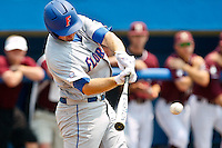 June 11, 2011:    Florida Gators inf Josh Adams (2) connects during NCAA Gainesville Super Regional Game 2 action between Florida Gators and Mississippi State Bulldogs played at Alfred A. McKethan Stadium on the campus of Florida University in Gainesville, Florida.   Mississippi State defeated Florida 4-3.........