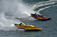 """Dave Richardson, GP-200 """"Lauterbach Special"""", (1976 Grand Prix class Lauterbach hydroplane), Bob Hampton, GP-182, Xanadu, (1982 Grand Prix class pickle-fork Lauterbach hydroplane)"""