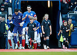 Lee Wallace leads out the Rangers team..