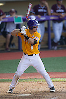 LSU Tigers shortstop Alex Bregman (8) at bat during the Southeastern Conference baseball game against the Texas A&M Aggies on April 25, 2015 at Alex Box Stadium in Baton Rouge, Louisiana. Texas A&M defeated LSU 6-2. (Andrew Woolley/Four Seam Images)