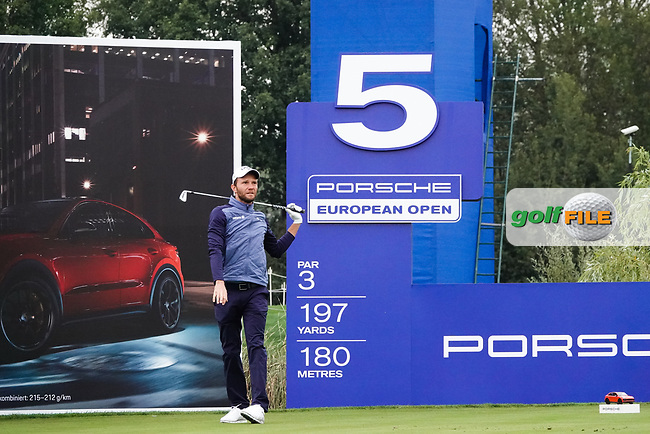 Maximilian Kieffer (GER) in action during the ProAm ahead of the Porsche European Open, Green Eagle Golf Club, Hamburg, Germany. 04/09/2019<br /> Picture: Golffile | Phil Inglis<br /> <br /> <br /> All photo usage must carry mandatory copyright credit (© Golffile | Phil Inglis)