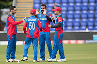 Dawlat Zadran (Afghanistan) and Hashmatullah Shahidi  (Afghanistan) with a choreographed wicket celebration during Afghanistan vs Sri Lanka, ICC World Cup Cricket at Sophia Gardens Cardiff on 4th June 2019