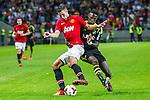 Solna 2013-08-06 Football Friendly Game , AIK - Manchester United FC :  <br /> Manchester United 20 Robin van Persie i kamp om bollen med AIK 23 Edward Owusu <br /> (Foto: Kenta J&ouml;nsson) Nyckelord: