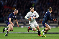 Elliot Daly of England goes on the attack. Guinness Six Nations match between England and Scotland on March 16, 2019 at Twickenham Stadium in London, England. Photo by: Patrick Khachfe / Onside Images