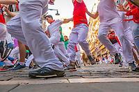 Europe,Spain,Pamplona,San Firmin festival 2018, Encierro, 8 am the bulls are released and the participants run forward