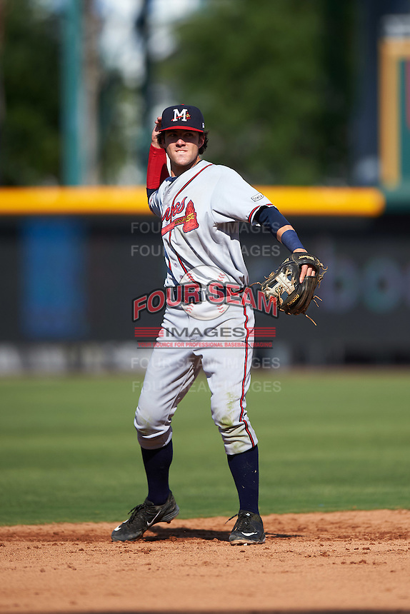 Mississippi Braves shortstop Dansby Swanson (36) throws the ball around during a game against the Jacksonville Suns on May 1, 2016 at The Baseball Grounds in Jacksonville, Florida.  Jacksonville defeated Mississippi 3-1.  (Mike Janes/Four Seam Images)