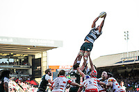 Graham Kitchener of Leicester Tigers wins the ball at a lineout. Aviva Premiership match, between Leicester Tigers and Gloucester Rugby on April 2, 2016 at Welford Road in Leicester, England. Photo by: Patrick Khachfe / JMP