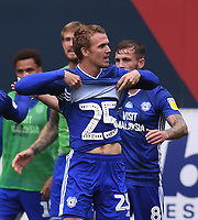 4th July 2020; Ashton Gate Stadium, Bristol, England; English Football League Championship Football, Bristol City versus Cardiff City; Danny Ward of Cardiff City celebrates showing a 25 shirt under his own after scoring in 85th minute 0-1