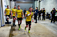 From left: Hurricanes' Sam Henwood, Ben May, Beauden Barrett and TJ Perenara run out for the Super Rugby match between the Hurricanes and Blues at Westpac Stadium in Wellington, New Zealand on Saturday, 7 July 2018. Photo: Dave Lintott / lintottphoto.co.nz