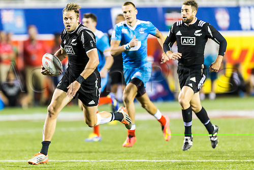 04.03.2016. Las Vegas, Nevada, USA.  Tim Mikkelson (#2) of New Zealand in action as he scores a try during the 1st half of the Pool A match between New Zealand and Russia at the USA Sevens held March 4-6, 2016 at Sam Boyd Stadium in Las Vegas NV. Final score NZ 38, Russia 0.