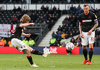 Bolton Wanderers' Luca Connell shoots at goal  <br /> <br /> Photographer Andrew Kearns/CameraSport<br /> <br /> The EFL Sky Bet Championship - Derby County v Bolton Wanderers - Saturday 13th April 2019 - Pride Park - Derby<br /> <br /> World Copyright &copy; 2019 CameraSport. All rights reserved. 43 Linden Ave. Countesthorpe. Leicester. England. LE8 5PG - Tel: +44 (0) 116 277 4147 - admin@camerasport.com - www.camerasport.com