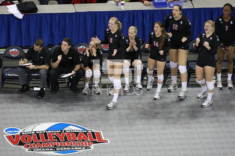 Omaha, NE - DECEMBER 20:  Assistant coach Jason Mansfield, volunteer assistant coach Chris Muscat, defensive specialist Jessica Fishburn #11, outside hitter Alex Fisher #5, setter Joanna Evans #3, defensive specialist Katherine Sebastian #14, middle blocker Stephanie Browne #15, defensive specialist Katherine Knox #6, and middle blocker Jessica Walker #7 of the Stanford Cardinal during Stanford's 20-25, 24-26, 23-25 loss against the Penn State Nittany Lions in the 2008 NCAA Division I Women's Volleyball Final Four Championship match on December 20, 2008 at the Qwest Center in Omaha, Nebraska.