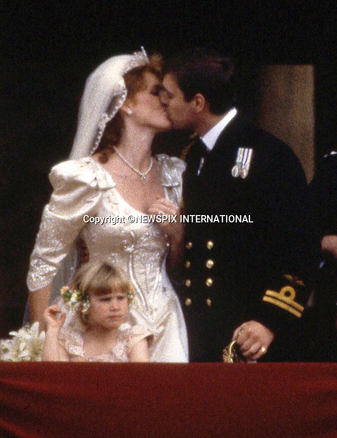 """WEDDING ROYAL KISSES_PRINCE ANDREW AND SARAH FERGUSON.a lot can read into a public kiss and body language..Prince Andrew and Sarah Ferguson Kiss on the balcony of Buckingham Palace on their wedding day, London_23/07/1986.Mandatory Photo Credit: ©Francis Dias/Newspix International..**ALL FEES PAYABLE  TO: """"NEWSPIX INTERNATIONAL""""**..PHOTO CREDIT MANDATORY!!: NEWSPIX INTERNATIONAL(Failure to credit will incur a surcharge of 100% of reproduction fees)..IMMEDIATE CONFIRMATION OF USAGE REQUIRED:.Newspix International, 31 Chinnery Hill, Bishop's Stortford, ENGLAND CM23 3PS.Tel:+441279 324672  ; Fax: +441279656877.Mobile:  0777568 1153.e-mail: info@newspixinternational.co.uk"""