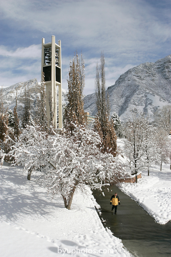 .0501-17 GCS Snow..Photo by Jaren Wilkey/BYU..Copyright BYU Photo 2005.All Rights Reserved.photo@byu.edu  (801)422-7322..1/7/05.Carillion Bell Tower, Snow...
