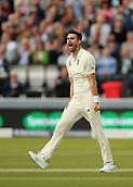 7th September 2017, Lords Cricket Ground, London, England; International Test Match Series, Third Test, Day 1; England versus West Indies; England Bowler James Anderson celebrates taking the wicket of West Indies batsman Kraigg Brathwaite