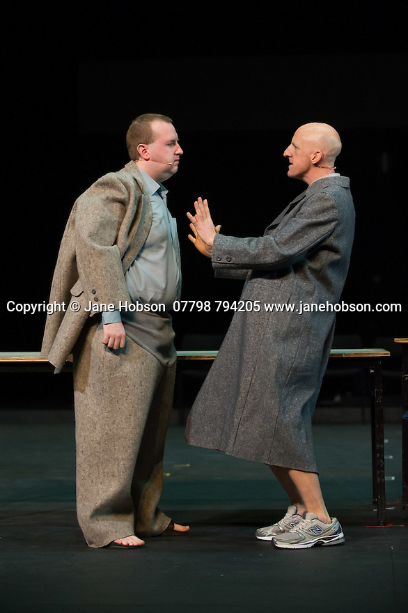 Edinburgh, UK. 09.08.2014.  GANESH VERSUS THE THIRD REICH, presented by Australian company, Back to Back Theatre, opens at the Royal Lyceum Theatre, as part of the Edinburgh International Festival. Picture shows:  Brian Tilley and David Woods. Photograph © Jane Hobson.