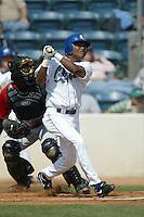 Erick Aybar of the Rancho Cucamonga Quakes bats during a 2004 season California League game at The Epicenter in Rancho Cucamonga, California. (Larry Goren/Four Seam Images)