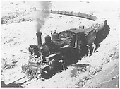 Leased D&amp;RGW #452 with derailed tender at Mule Shoe Curve near RGS MP 152.<br /> RGS  MP 152, CO  ca 1946