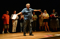 "NWA Democrat-Gazette/ANDY SHUPE<br /> Steve Voorhies sings Wednesday, Sept. 18, 2019, while rehearsing a scene for ""Gridiron"" in Giffels Auditorium in Old Main on the University of Arkansas campus in Fayetteville."