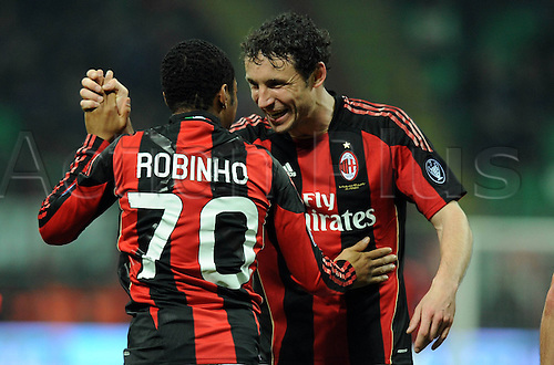 12 02 2011   Robinho and Mark van Bommel Milan After  Goal for 3- 0 Milan  Stadio Meazza AC Milan versus Parma  Campionato Italiano Series A