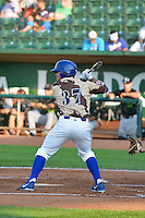 Joseph Meggs (37) of the Ogden Raptors at bat against the Great Falls Voyagers in Pioneer League action at Lindquist Field on July 17, 2014 in Ogden, Utah.  (Stephen Smith/Four Seam Images)